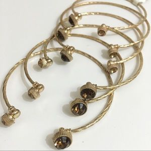 Jewelry - 6 Brown/Amber Rhinestone Open Cuff Gold Bracelets